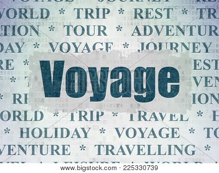 Travel concept: Painted blue text Voyage on Digital Data Paper background with   Tag Cloud