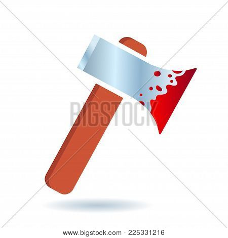 Bloody axe icon. Murder and horror conceptual vector illustration