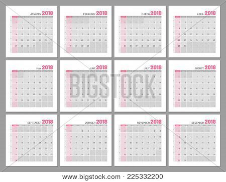Set identical light calendars, 2018, months, flat. Diary for notes, scheduling, marks of important dates and events. Vector illustration of menologies collection