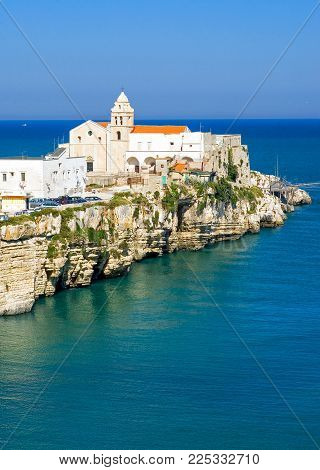 Vieste, Italy, view of the St.Francis promontory on the sea