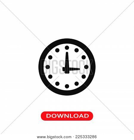Wall clock icon vector in modern flat style for web, graphic and mobile design. Wall clock icon vector isolated on white background. Wall clock icon vector illustration, editable stroke and EPS10. Wall clock icon vector simple symbol for app, logo, UI.