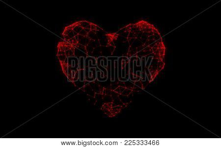 Abstract futuristic geometric composition from red heart atom molecules technology dna structure, love blockchain network concept with particles, dots, lines on black background. 3d illustration