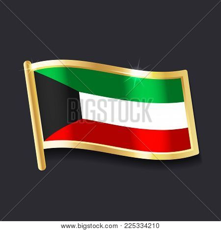 flag of Kuwait in the form of badge, flat image