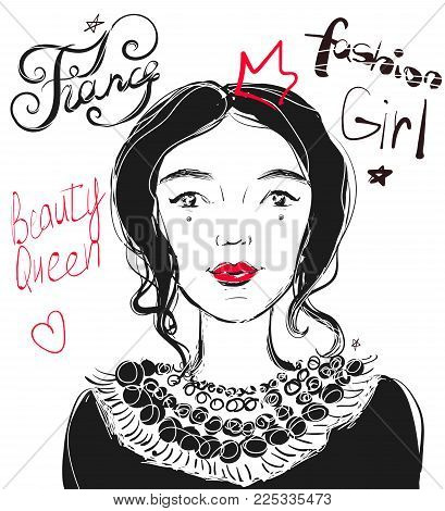 Hand drawn vector beautiful young cute woman. Illustration with fashion and France calligraphy.