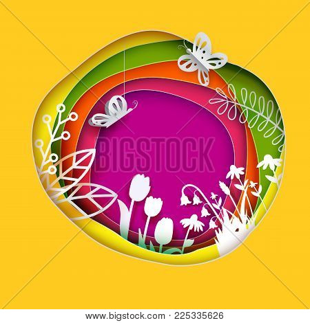 Floral paper art layered circle background. Flowers, grass, butterfly cut out from white paper. Paper art. Vector illustration. Bright colors for web banner, greeting card, poster