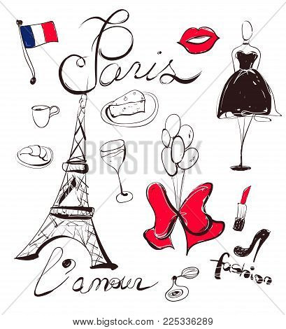 Vector France illustration. Set of hand-drawn Paris symbols such as Eiffel Tower, black dress, cheese, red lips, croissanet, etc
