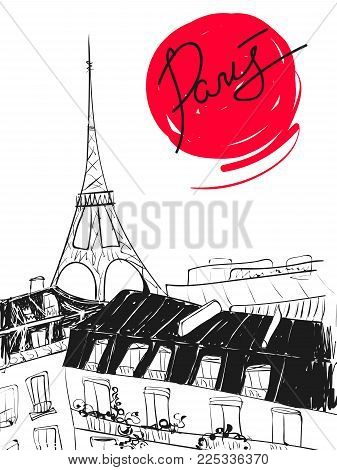 Hand drawn vector illustration. Eiffel tower with dark roofs and Paris calligraphic text