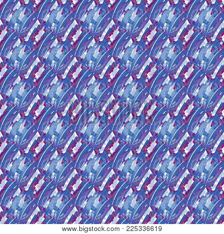 Abstract geometric seamless background. Regular intricate pattern light blue, blue gray, purple, violet and red shades diagonally.