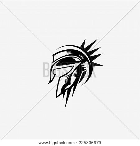 Spartan helmet black meander ornament on white background vector illustration design.