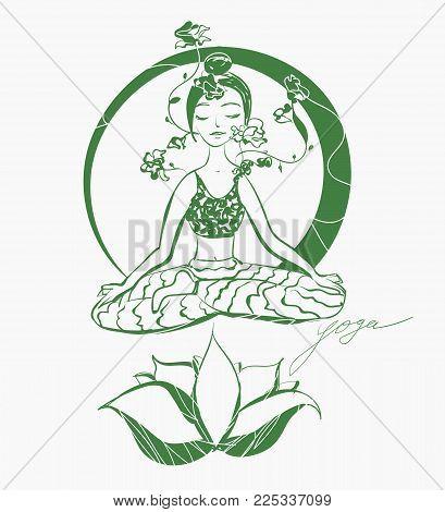 Lotus yoga pose. Hand drawn illustration for healthcare design.