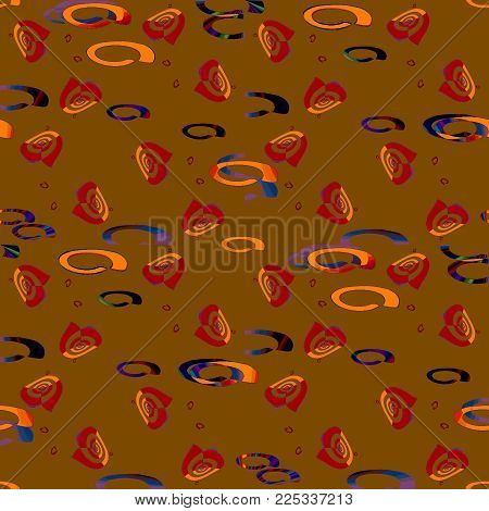 Abstract geometric background multicolored. Regular ellipses and spirals pattern red brown, orange, blue and black on gold brown.