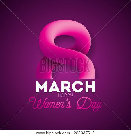8 March. Happy Women's Day Greeting card. International Holiday Illustration with Shiny 3d Eight on Purple Background. Vector Template