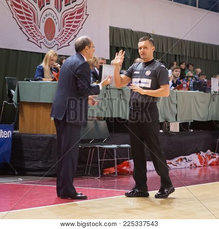 SAMARA, RUSSIA - DECEMBER 01: BC CSKA head coach Ettore Messina disputes with the referee during the BC Krasnye Krylia basketball game on December 01, 2013 in Samara, Russia.