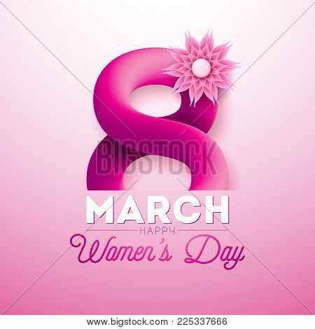 8 March. Happy Women's Day Greeting card. International Holiday Illustration with Shiny 3d Eight on Pink Background. Vector Template