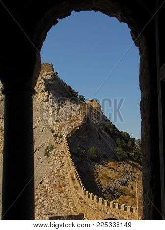 view from Genoa fortress s window on defensive wall, Crimea, Sudack
