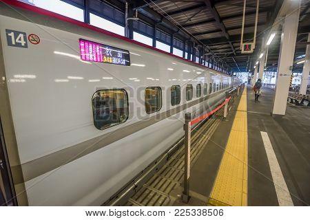Sendai,japan - October 23,2017 : Exterior Of E6 Series Tohoku Shinkansen Bullet Train At Sendai Stat