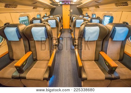 Sendai,japan - October 23,2017 : Interior Of Green Class Seat Of E6 Series Shinkansen Bullet Train A