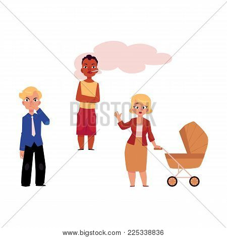 Vector flat adult woman annoyed, angry with baby stroller, dissatisfied man in suit pinching nose, african man smoker. Nicotine addiction tobacco passive smoking risk concept. Isolated illustration