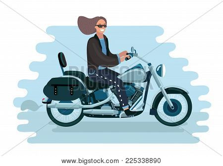 Vector cartoon illistration of pretty woman rides a bike. Girl in sunglasses on motorcycle.