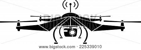 drone with camera. stencil. second variant. vector illustration
