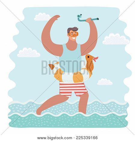 Vector cartoon illustration of happy rejoice man wearing inflatable rubber ring and diving mask and tube in his hands. Funny characters on vacation or holiday summer.