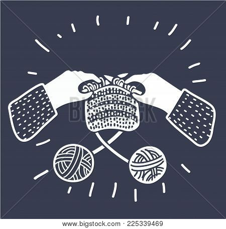 Vector cartoon illustration of knitting human hands with needles. Two skeins wool yarn. Workshop, lessons, hobbies, craft. black and white outline modern style graphic concept on dark background.