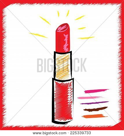 white background and abstract image of red lipstick in crimson