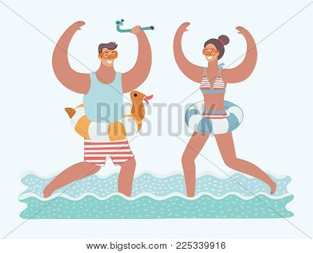 Vector cartoon funny illustration of rejoice couple running in sea water with diving mask on their faces and diving tube in theirs hands