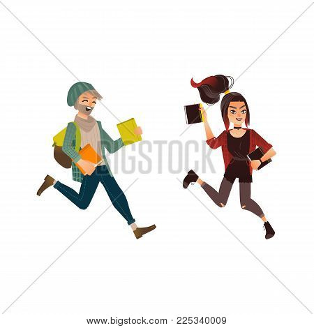 Vector cartoon young happy teen student girl, man with backpack jumping with books, University college cute female, male characters in modern casual outfit jeans colored hair. Isolated illustration
