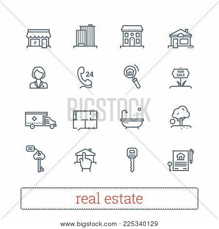 Real estate thin line icons. Vector set of leasing, renting, buying and selling realty signs. Modern linear vector design elements for web interface and mobile services. Isolated on white background.