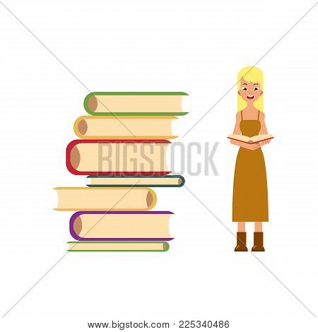 Pile of books and young woman, girl, adult standing and reading, flat cartoon vector illustration isolated on white background. Pile of books and front view full length portrait of reading girl, woman