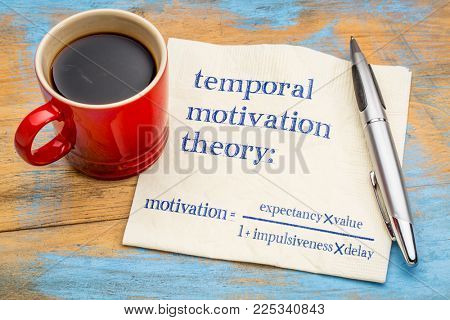 temporal motivation theory, equation - handwriting on a napkin with a cup of coffee
