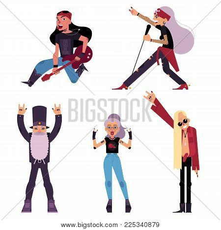 Set of old, elder, senior rock musicians, singers, guitarist, cartoon vector illustration isolated on white background. Set of elder old rock band participant, singer, bandleader, guitarist characters