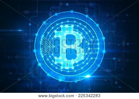 Creative glowing bitcoin backdrop. Cryptocurrency and finance concept. 3D Rendering