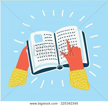 Vector cartoon illustration of Refer symbol, a human hand hold book and point at. Icon in modern colorful style