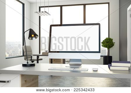 Close up of creative designer desktop with empty computer in office interior with city view. Web design concept. Mock up, 3D Rendering