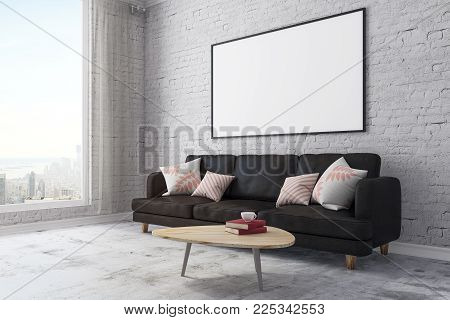 Side view of modern brick living room interior with furniture, city view and blank billboard on wall. Mock up, 3D Rendering