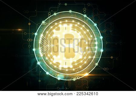Creative glowing bitcoin background. Cryptocurrency and finance concept. 3D Rendering
