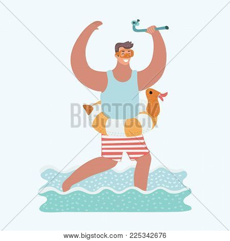 Vector cartoon funny illustration of rejoice man running in sea water with diving mask on his face and diving tube in his hand and rubber duck ring on his waist.