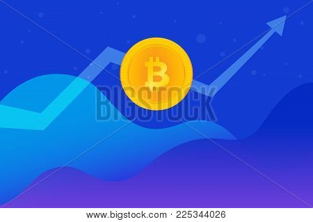Bitcoin golden symbol concept gradient vector illustration of huge growth up trend on cryptocurrency markets. Abstract financial graphs with gold coin and big arrow going up on blue background