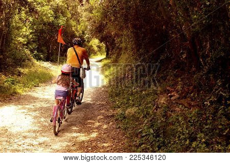 Two tourists, father and daughter, going in bycicles in touristic itinerary of national forest park Punta Corrente, Zlatni Rt, -- Rovinj, Croatia