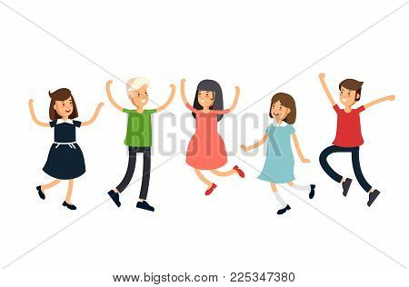 Vctor illustration set funny kids jumping on a white background. Children have fun together. Friends teens