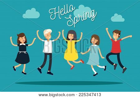 Vctor illustration set funny kids jumping on a colorful background. Children have fun together. Friends teens. The concept of spring mood