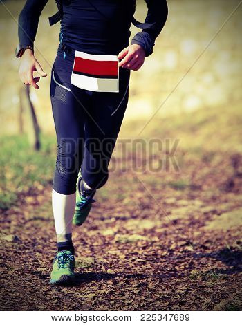 Man Runs With Sportwear During A Cross-country Race With Vintage Style