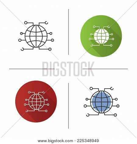Global cryptocurrency icon. World wide web. Cryptocurrency. Globe. Flat design, linear and color styles. Isolated vector illustrations
