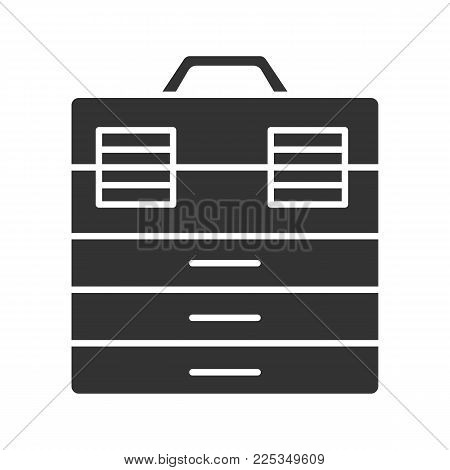 Fishing tackle box glyph icon. Toolbox. Silhouette symbol. Negative space. Vector isolated illustration