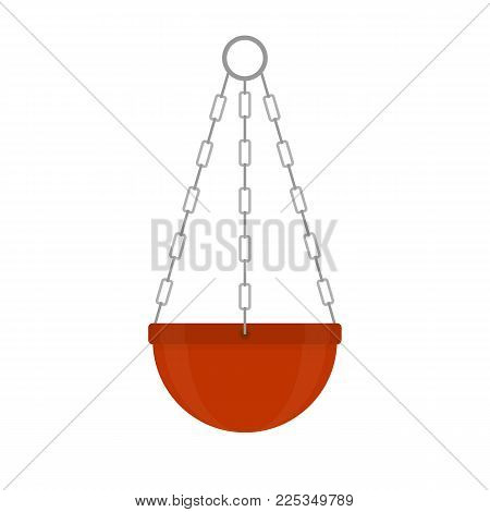 Vector illustration of terracotta flower pots isolated on white background. Hanging clay flowerpot in flat style. Gardening equipment.