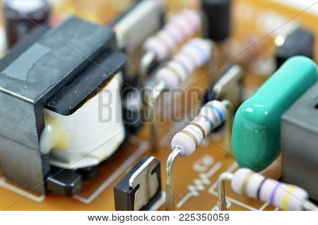 Electronic Pcb Printed Circuit Board In Macro Close-up