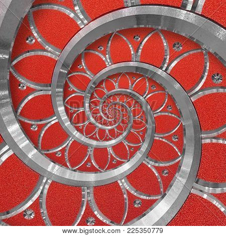 Red abstract round spiral background pattern fractal. Silver metal spiral blue decorative ornament element. Metal texture repetitive flower background spiral fractal. Distorted background pattern. Metallic ornament decoration twisted pattern poster