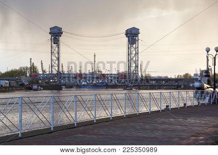 Kaliningrad, Russia - April 25, 2016: Double-deck Drawbridge Over The Pregolya River In Kaliningrad